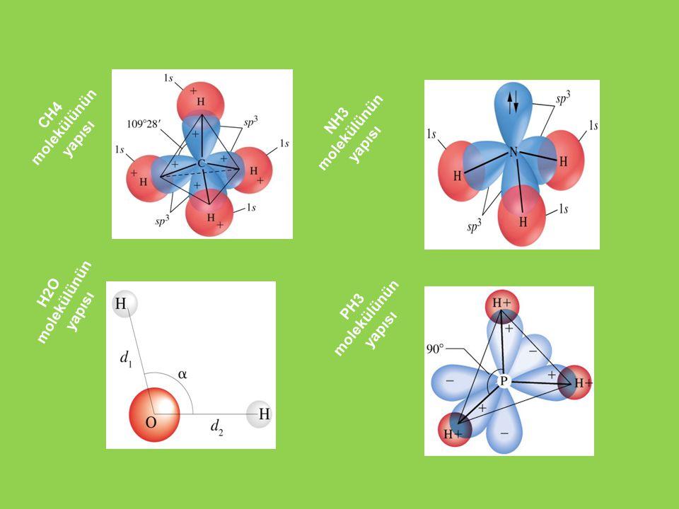 CH4 molekülünün yapısı NH3 molekülünün yapısı H2O molekülünün yapısı PH3 molekülünün yapısı