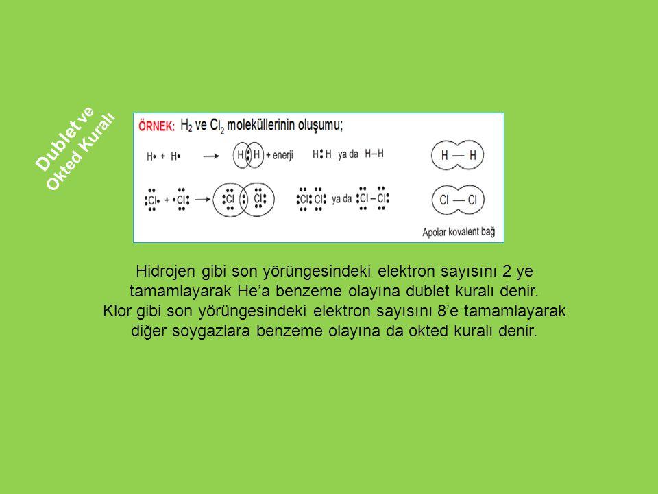 Dublet ve Okted Kuralı Hidrojen gibi son yörüngesindeki elektron sayısını 2 ye tamamlayarak He'a benzeme olayına dublet kuralı denir.