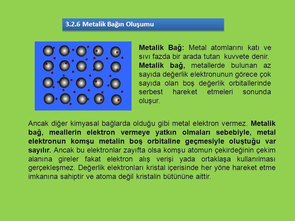3.2.6 Metalik Bağın Oluşumu Metalik Bağ: Metal atomlarını katı ve sıvı fazda bir arada tutan kuvvete denir.