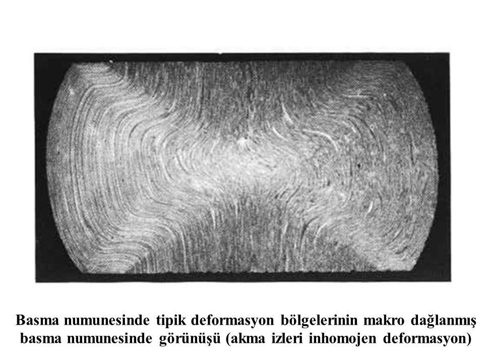 Basma numunesinde tipik deformasyon bölgelerinin makro dağlanmış