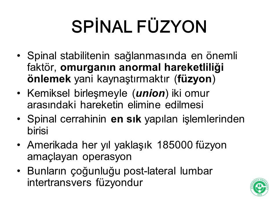 SPİNAL FÜZYON Spinal stabilitenin sağlanmasında en önemli faktör, omurganın anormal hareketliliği önlemek yani kaynaştırmaktır (füzyon)