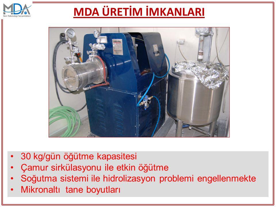 MDA ÜRETİM İMKANLARI 30 kg/gün öğütme kapasitesi