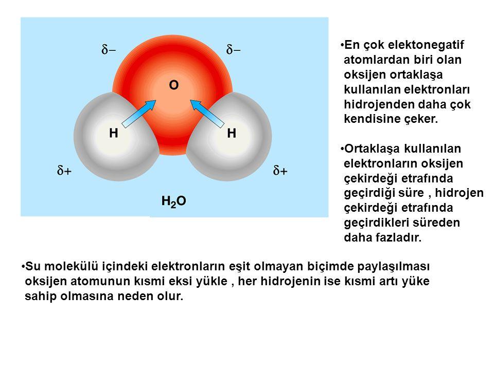 En çok elektonegatif atomlardan biri olan. oksijen ortaklaşa. kullanılan elektronları. hidrojenden daha çok.