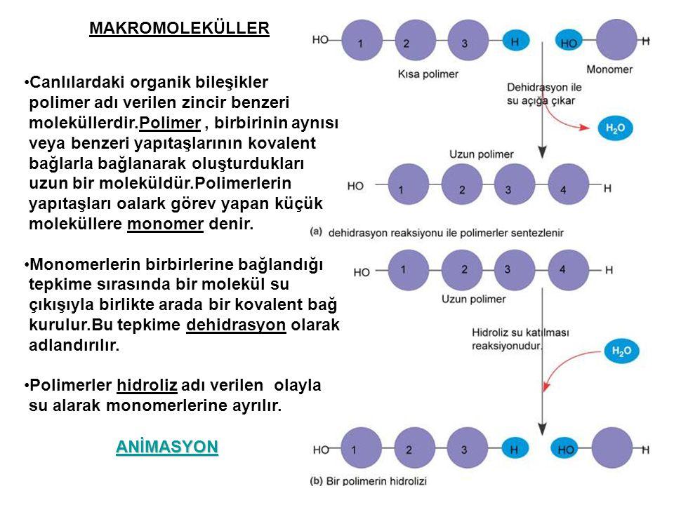 MAKROMOLEKÜLLER Canlılardaki organik bileşikler. polimer adı verilen zincir benzeri. moleküllerdir.Polimer , birbirinin aynısı.