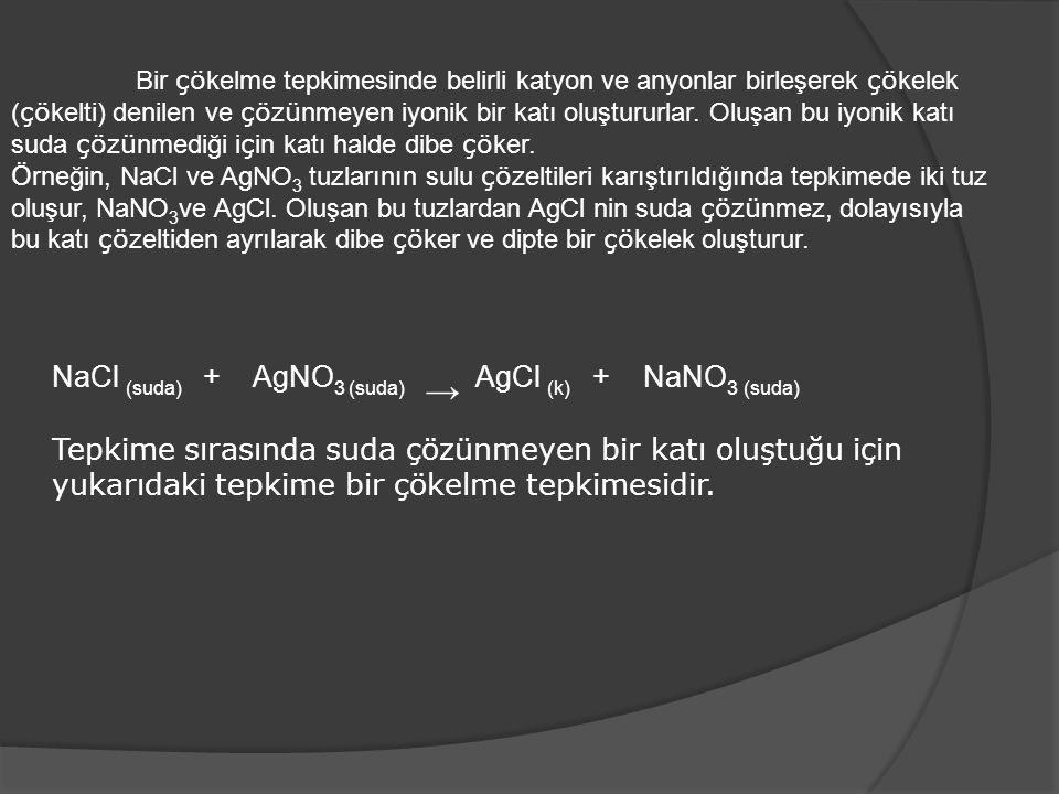 NaCl (suda) + AgNO3 (suda) → AgCl (k) + NaNO3 (suda)