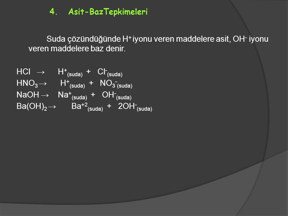 HCl → H+(suda) + Cl-(suda) HNO3 → H+(suda) + NO3-(suda)