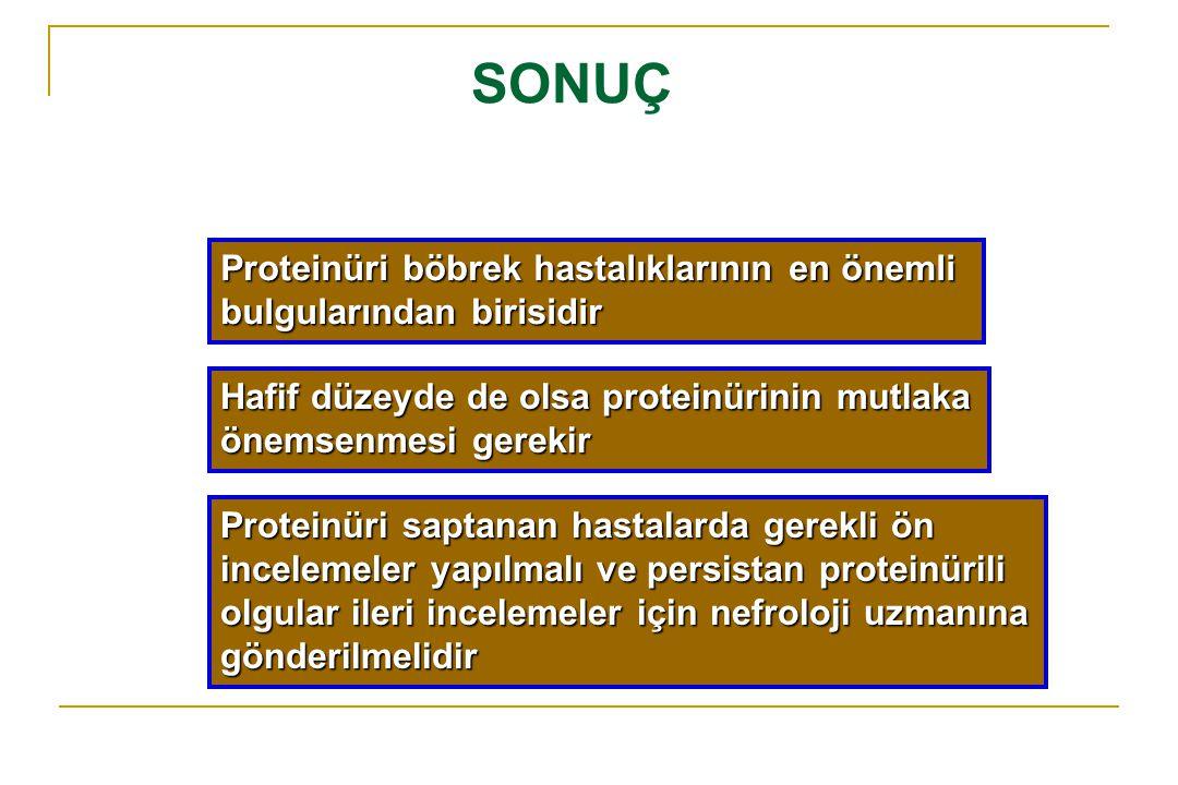 SONUÇ Proteinüri böbrek hastalıklarının en önemli