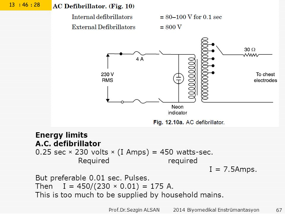 Energy limits A.C. defibrillator sec × 230 volts × (I Amps) = 450 watts-sec. Required required.