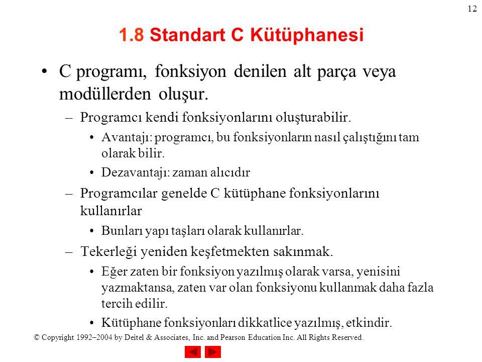 1.8 Standart C Kütüphanesi
