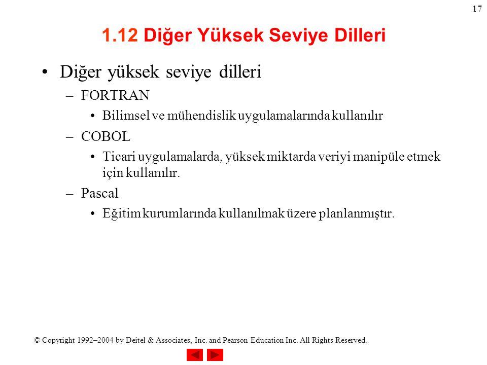 1.12 Diğer Yüksek Seviye Dilleri