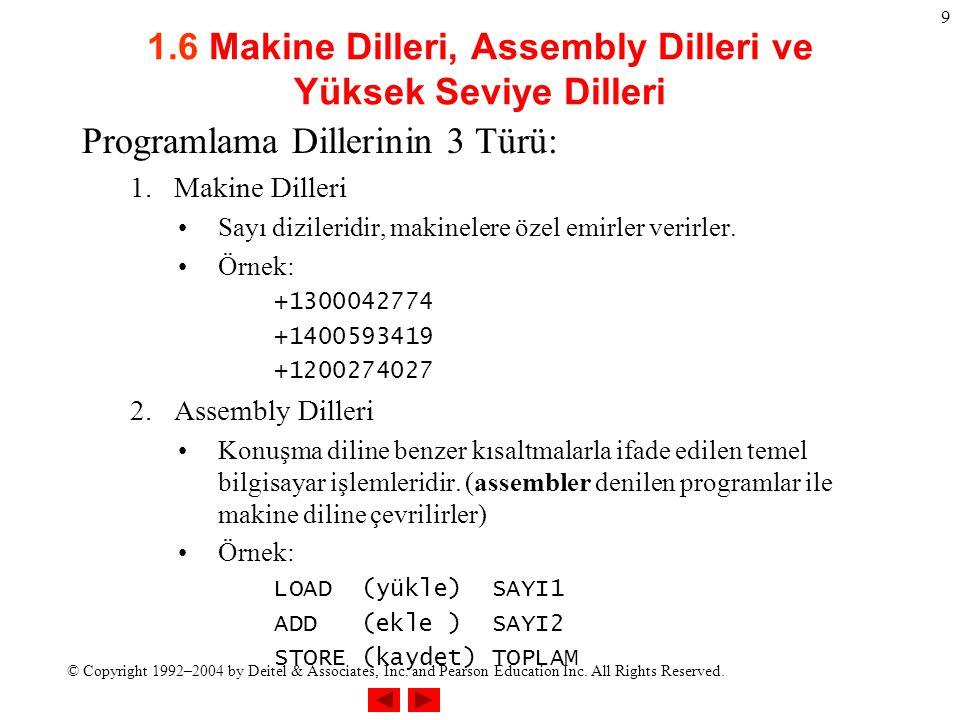 1.6 Makine Dilleri, Assembly Dilleri ve Yüksek Seviye Dilleri