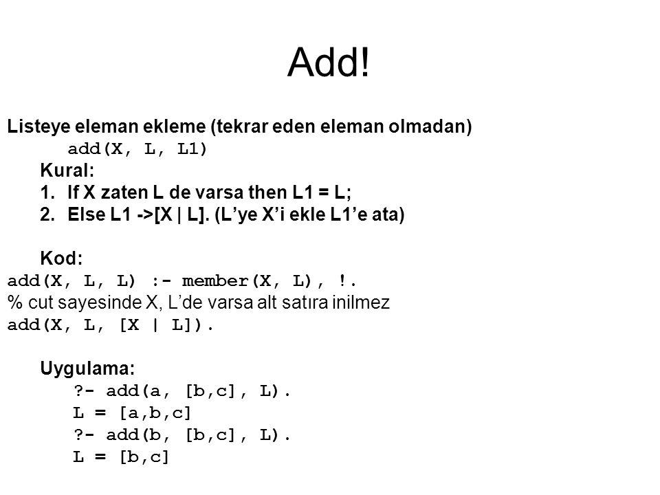 Add! Listeye eleman ekleme (tekrar eden eleman olmadan) add(X, L, L1)