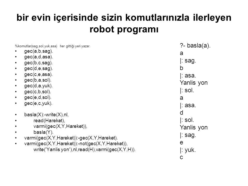 bir evin içerisinde sizin komutlarınızla ilerleyen robot programı