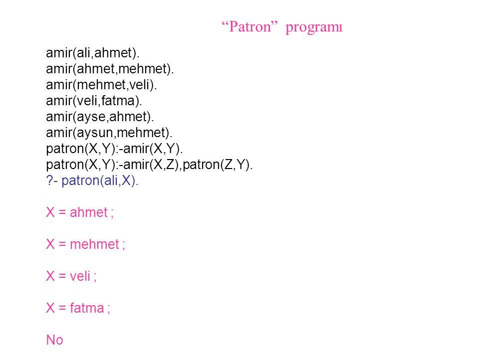 Patron programı amir(ali,ahmet). amir(ahmet,mehmet).
