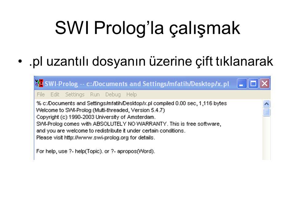 SWI Prolog'la çalışmak