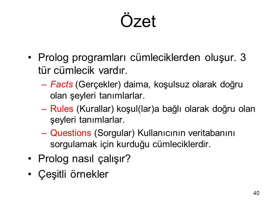 Özet Prolog programları cümleciklerden oluşur. 3 tür cümlecik vardır.