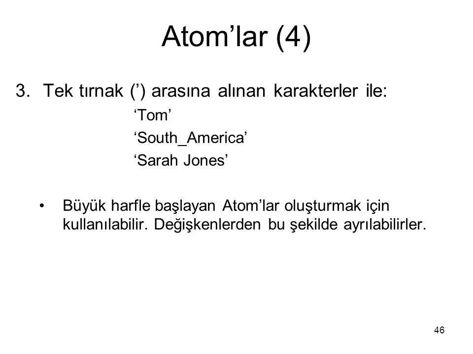 Atom'lar (4) Tek tırnak (') arasına alınan karakterler ile: 'Tom'