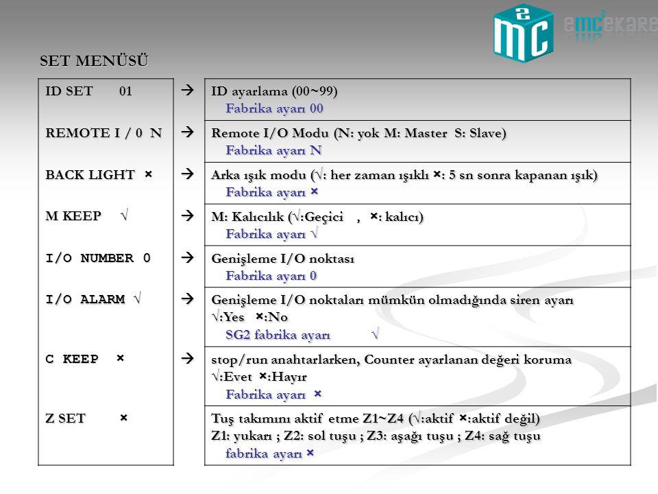 SET MENÜSÜ ID SET 01  ID ayarlama (00~99) Fabrika ayarı 00