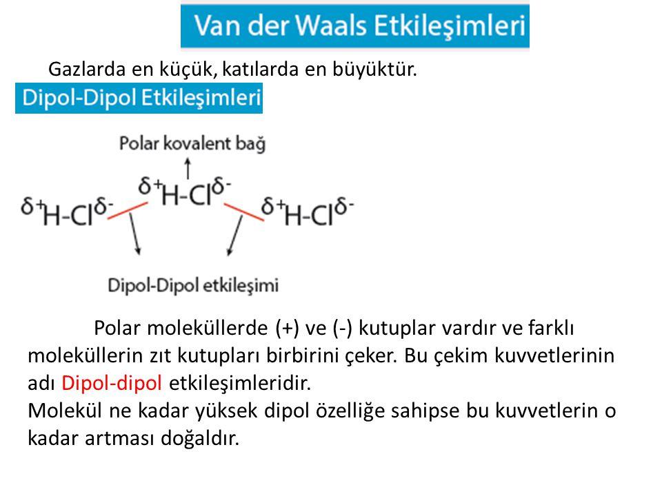 Molekül ne kadar yüksek dipol özelliğe sahipse bu kuvvetlerin o