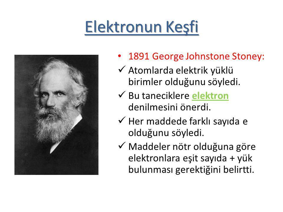 Elektronun Keşfi 1891 George Johnstone Stoney: