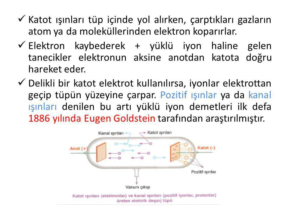 Katot ışınları tüp içinde yol alırken, çarptıkları gazların atom ya da moleküllerinden elektron koparırlar.