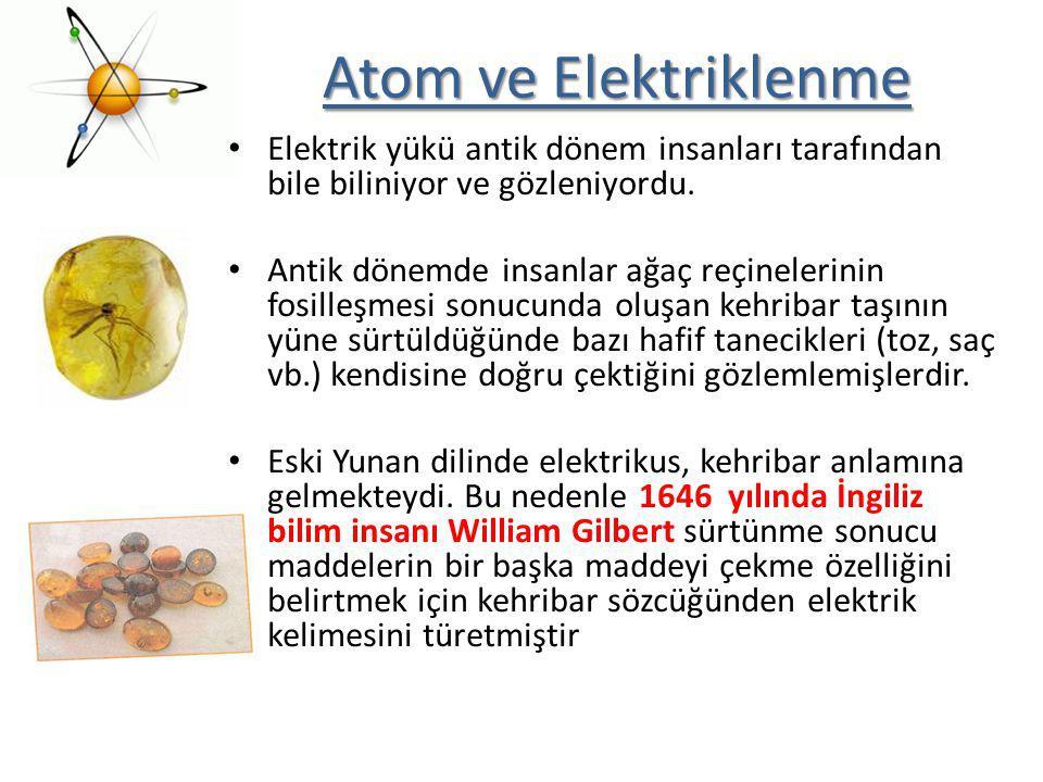 Atom ve Elektriklenme Elektrik yükü antik dönem insanları tarafından bile biliniyor ve gözleniyordu.