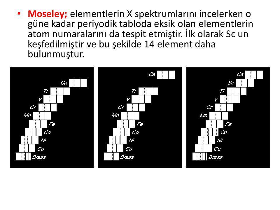 Moseley; elementlerin X spektrumlarını incelerken o güne kadar periyodik tabloda eksik olan elementlerin atom numaralarını da tespit etmiştir.