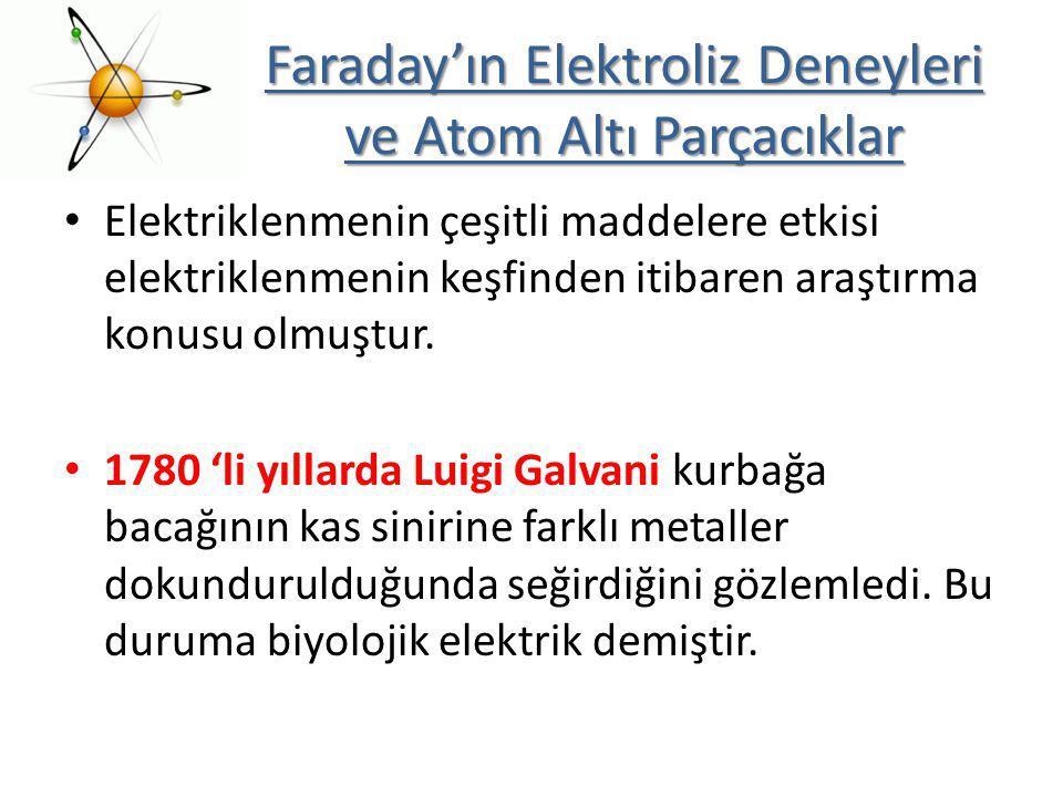 Faraday'ın Elektroliz Deneyleri ve Atom Altı Parçacıklar