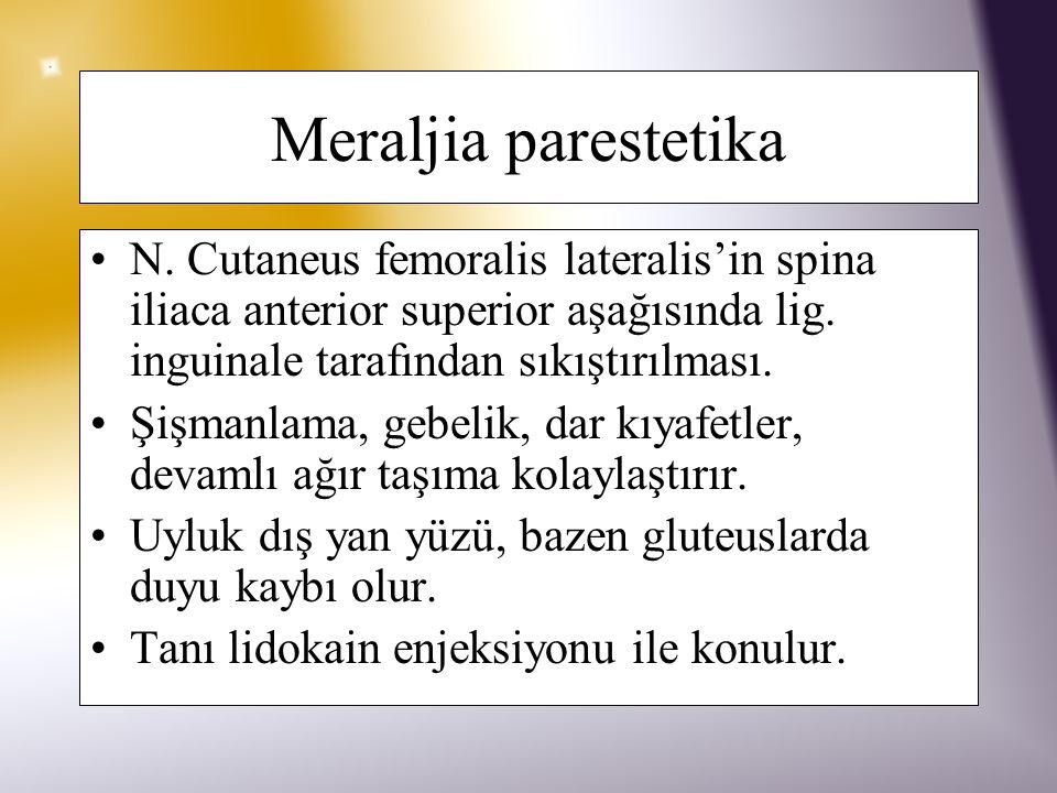 Meraljia parestetika N. Cutaneus femoralis lateralis'in spina iliaca anterior superior aşağısında lig. inguinale tarafından sıkıştırılması.