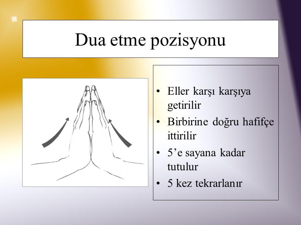Dua etme pozisyonu Eller karşı karşıya getirilir