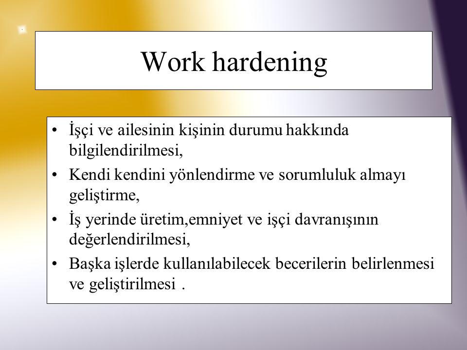 Work hardening İşçi ve ailesinin kişinin durumu hakkında bilgilendirilmesi, Kendi kendini yönlendirme ve sorumluluk almayı geliştirme,