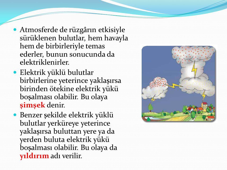 Atmosferde de rüzgârın etkisiyle sürüklenen bulutlar, hem havayla hem de birbirleriyle temas ederler, bunun sonucunda da elektriklenirler.