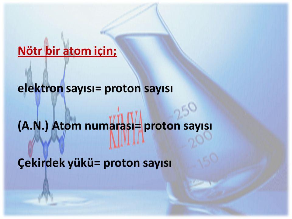 Nötr bir atom için; elektron sayısı= proton sayısı.