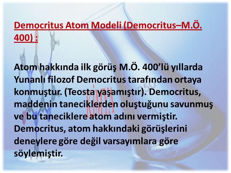 Democritus Atom Modeli (Democritus–M.Ö. 400) :