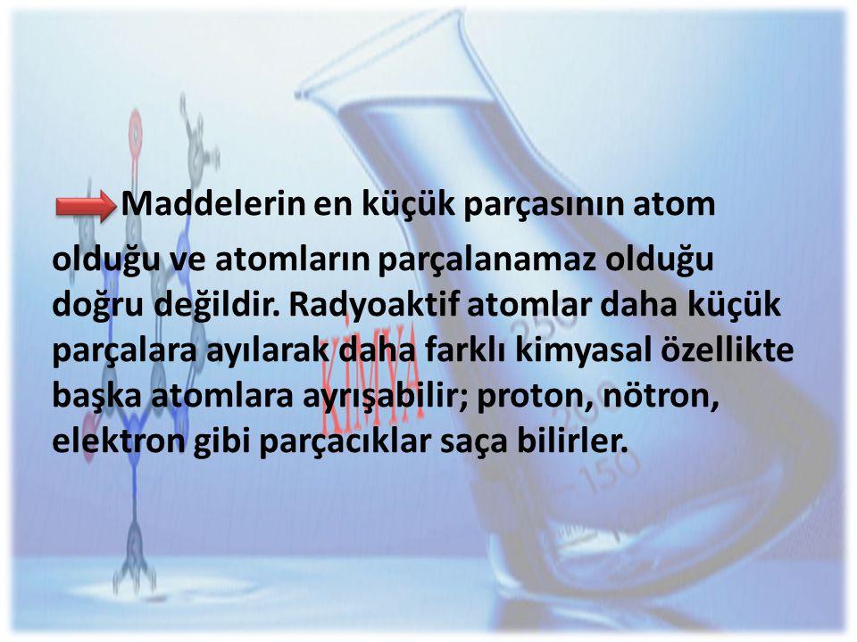Maddelerin en küçük parçasının atom