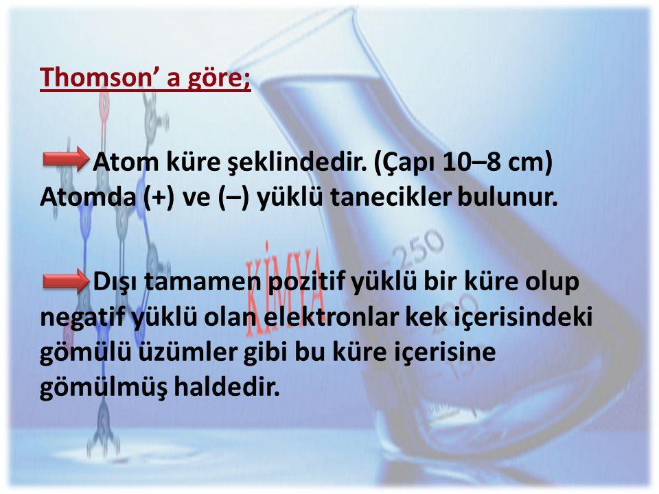 Thomson' a göre; Atom küre şeklindedir