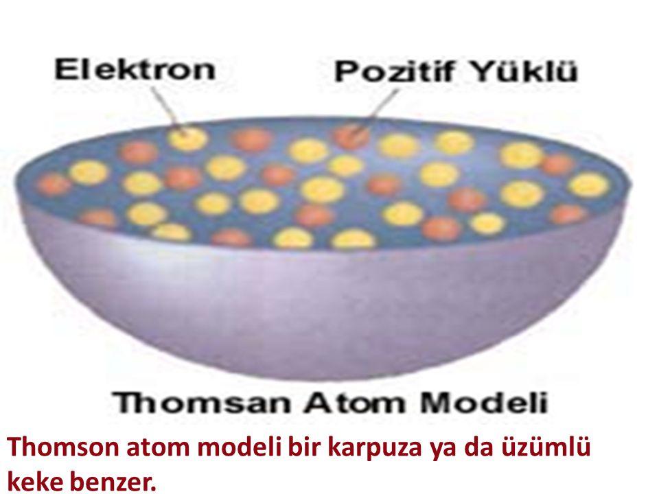 Thomson atom modeli bir karpuza ya da üzümlü keke benzer.