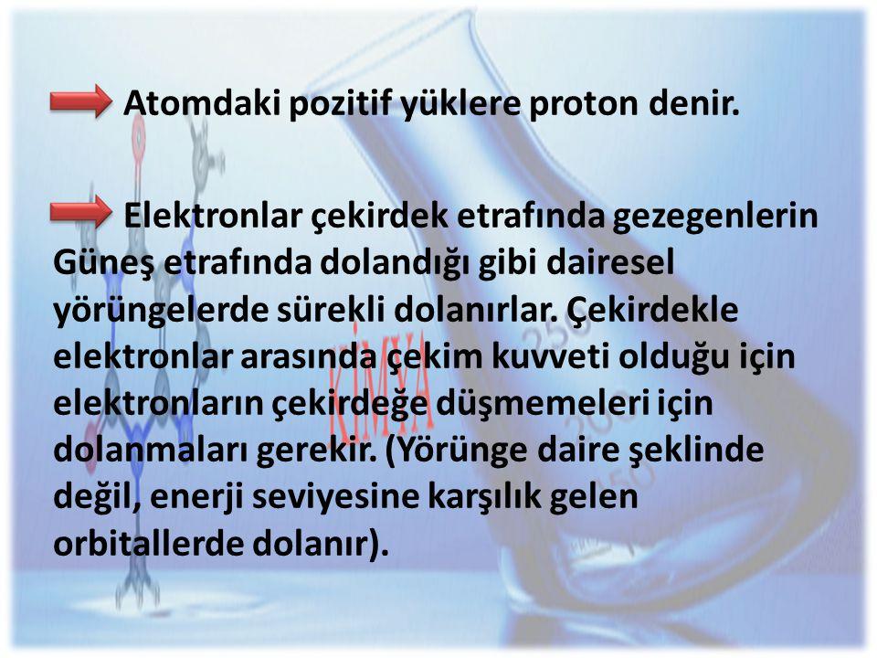 Atomdaki pozitif yüklere proton denir.