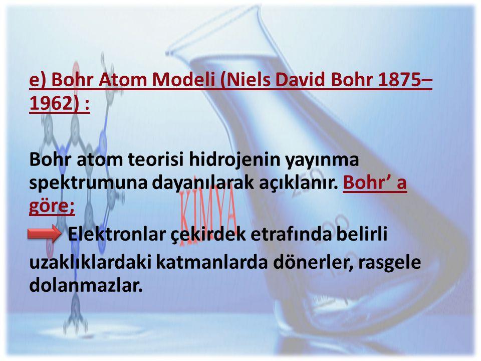 e) Bohr Atom Modeli (Niels David Bohr 1875–1962) :