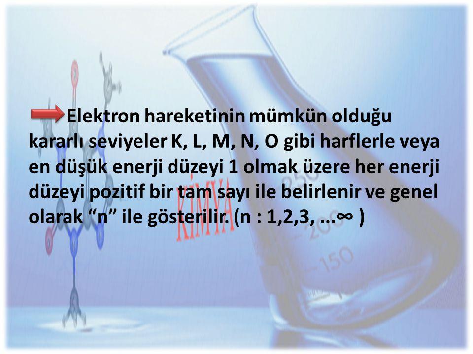 Elektron hareketinin mümkün olduğu kararlı seviyeler K, L, M, N, O gibi harflerle veya en düşük enerji düzeyi 1 olmak üzere her enerji düzeyi pozitif bir tam sayı ile belirlenir ve genel olarak n ile gösterilir.