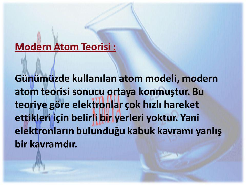 Modern Atom Teorisi :