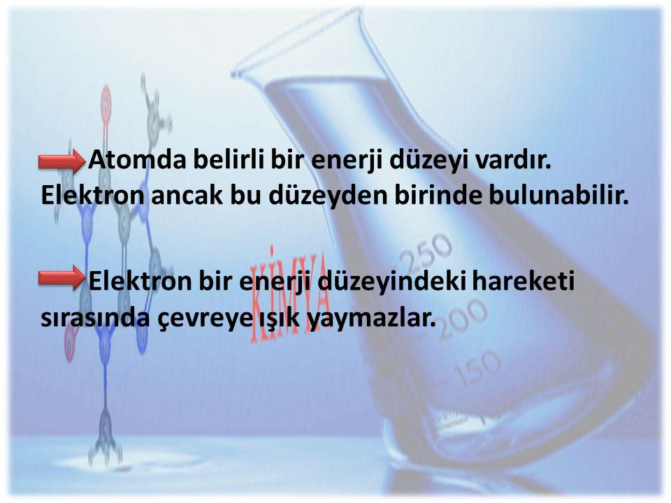 Atomda belirli bir enerji düzeyi vardır