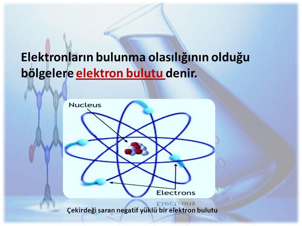 Elektronların bulunma olasılığının olduğu bölgelere elektron bulutu denir.