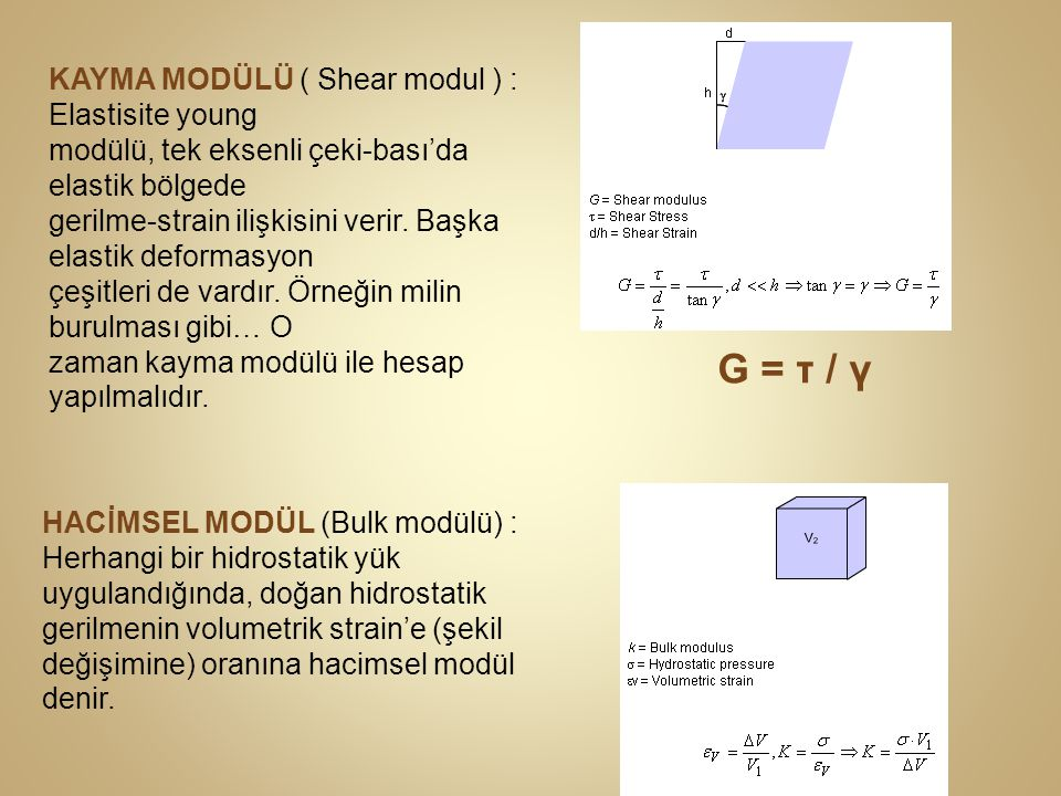 G = τ / γ KAYMA MODÜLÜ ( Shear modul ) : Elastisite young