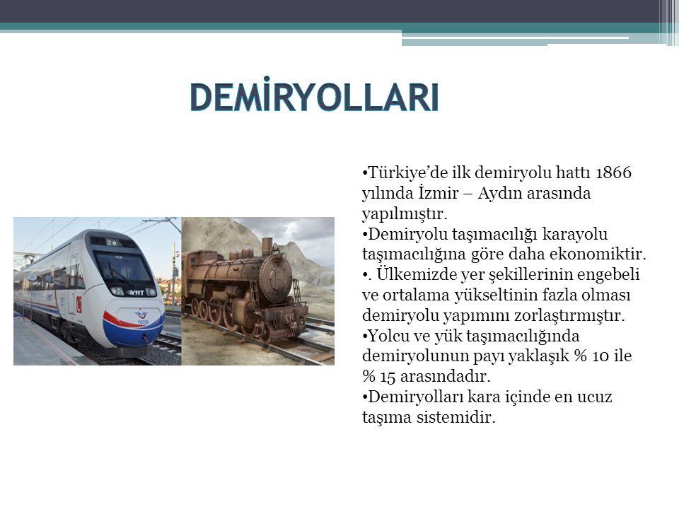 DEMİRYOLLARI Türkiye'de ilk demiryolu hattı 1866 yılında İzmir – Aydın arasında yapılmıştır.