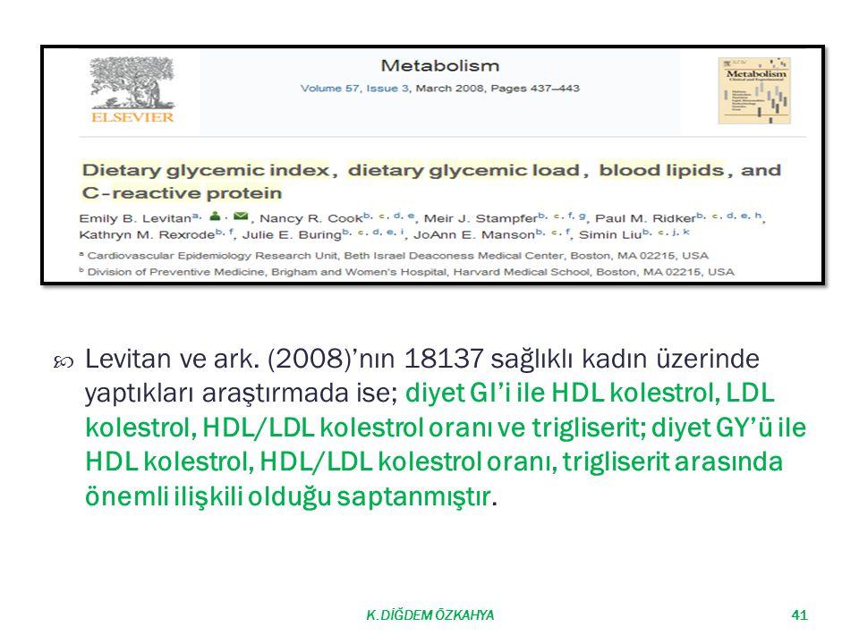 Levitan ve ark. (2008)'nın 18137 sağlıklı kadın üzerinde yaptıkları araştırmada ise; diyet GI'i ile HDL kolestrol, LDL kolestrol, HDL/LDL kolestrol oranı ve trigliserit; diyet GY'ü ile HDL kolestrol, HDL/LDL kolestrol oranı, trigliserit arasında önemli ilişkili olduğu saptanmıştır.