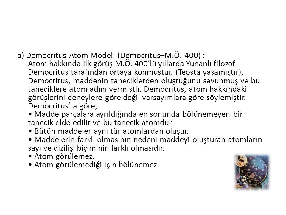 a) Democritus Atom Modeli (Democritus–M. Ö
