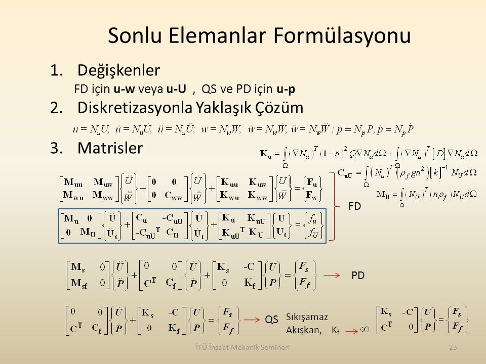 Sonlu Elemanlar Formülasyonu