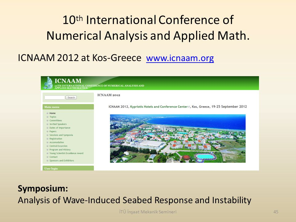 10th International Conference of Numerical Analysis and Applied Math.