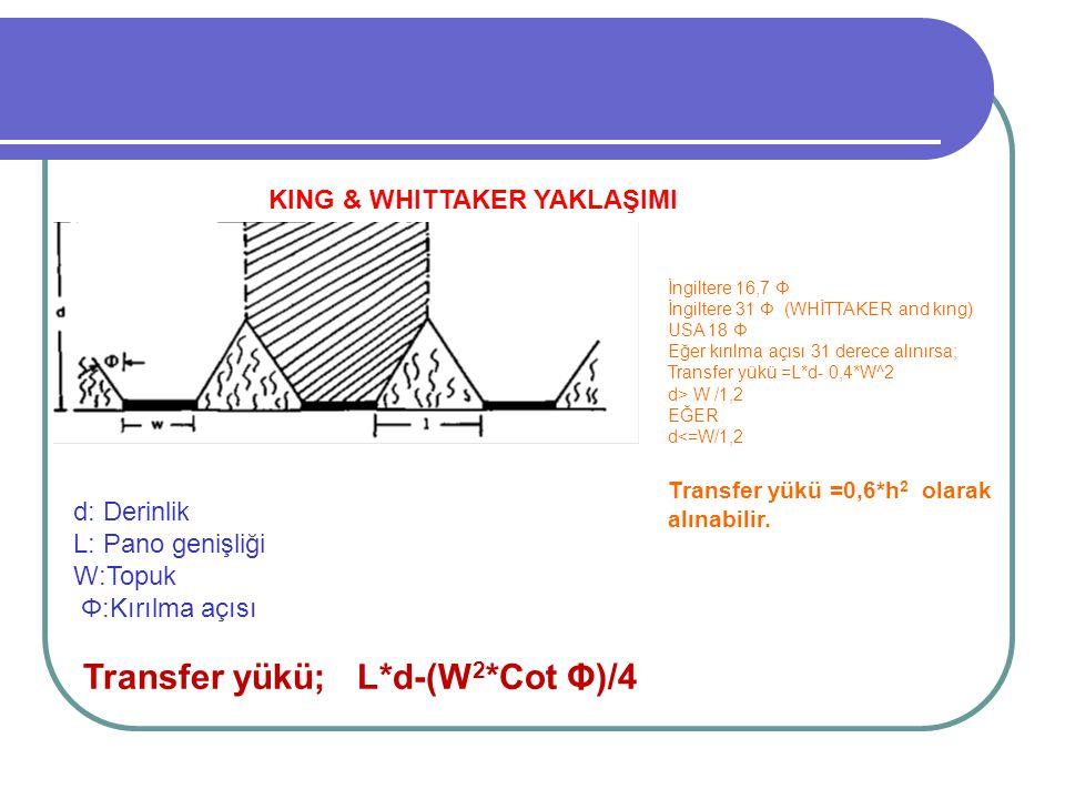 Transfer yükü; L*d-(W2*Cot Φ)/4